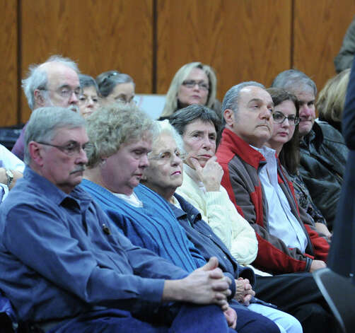 Members of the audience during the Greenwich Planning & Zoning Commission meeting at Greenwich Town Hall, Tuesday night, Jan. 29, 2013. The commission granted Greenwich Reform Synagogue's proposal for a lot-line revision of an Orchard Street property to make way for its new facility. Photo: Bob Luckey / Greenwich Time