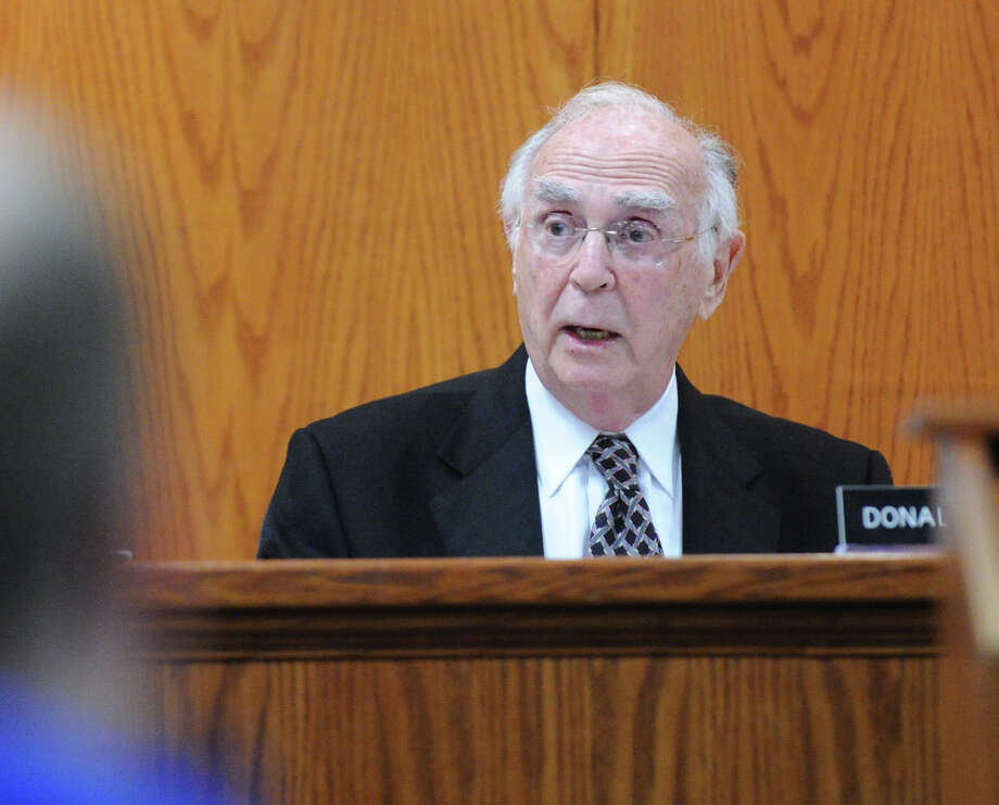 Donald Heller, chairman of the Planning and Zoning Commission, speaks during the commission's meeting at Greenwich Town Hall, Tuesday night, Jan. 29, 2013. The commission granted Greenwich Reform Synagogue's proposal for a lot-line revision of an Orchard Street property to make way for its new facility. Photo: Bob Luckey / Greenwich Time