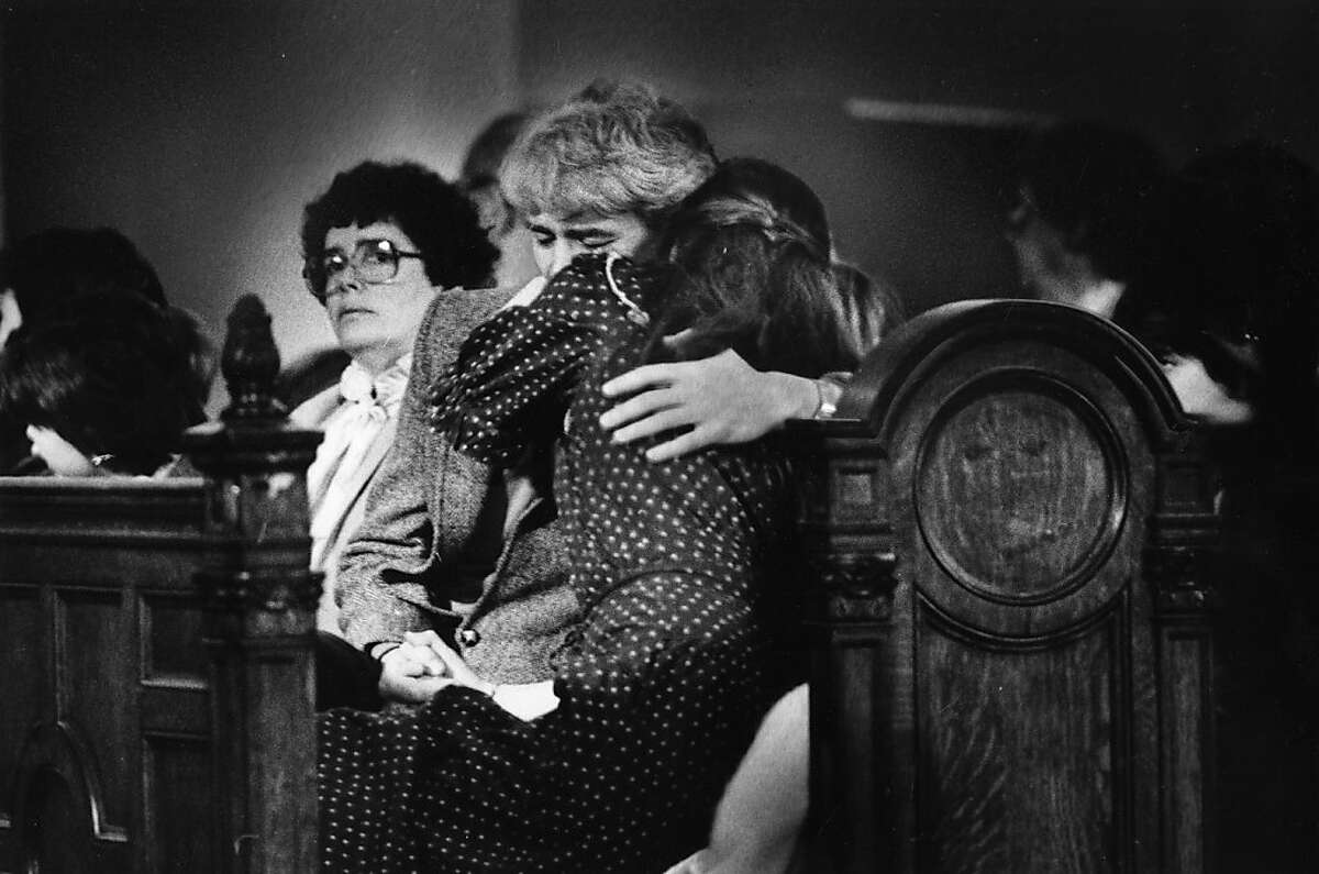 Laura Collins is comforted by her father at the a service for Kevin Collins on February 1-. 1985. Kevin Collins disappeared in the Haight-Ashbury neighborhood of San Francisco in 1984.