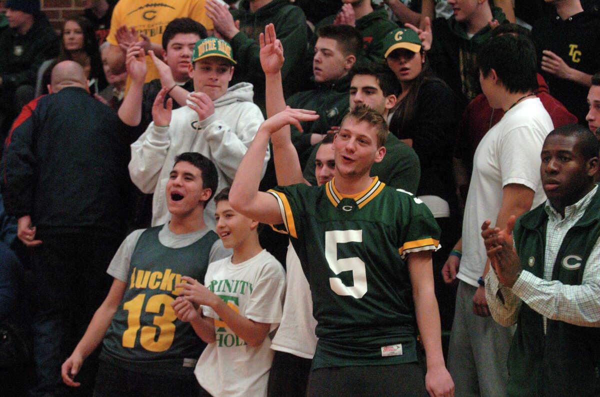 Trinity Catholic hosts Ridgefield High School in a boys basketball game in Stamford, Conn., Jan. 29, 2013.
