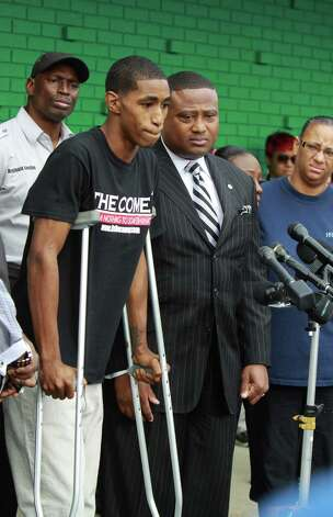 Carlton Berry attends a news conference with activist Quanell X and  other supporters outside the New Black Panther Party headquarters on  Tuesday. Berry was cleared of charges in the Lone Star College shooting. Photo: Gary Fountain, Freelance / Copyright 2013 Gary Fountain.
