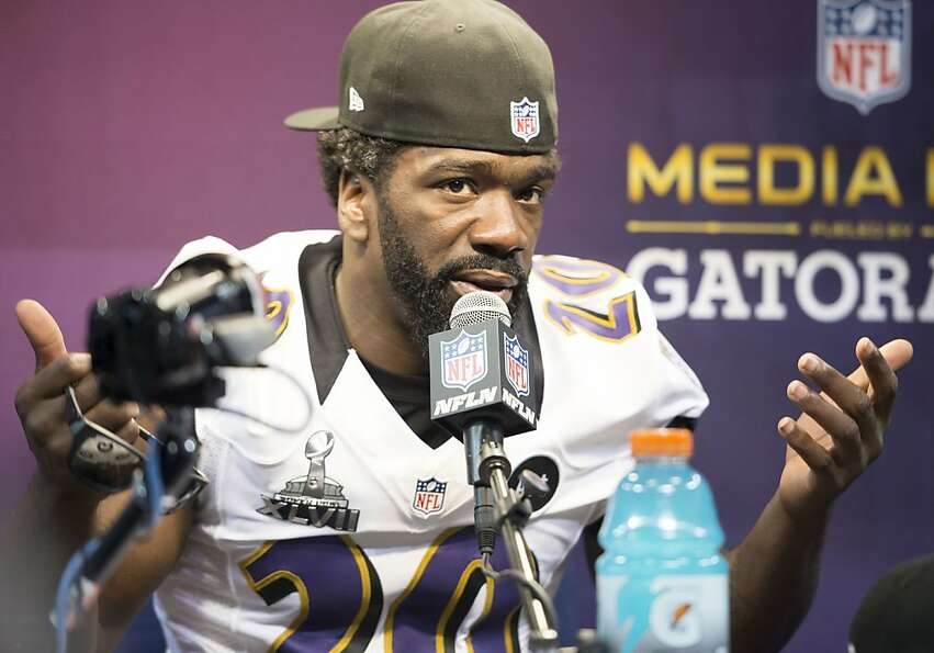 Ed Reed of the Baltimore Ravens answers questions during Super Bowl Media Day on Tuesday, January 29