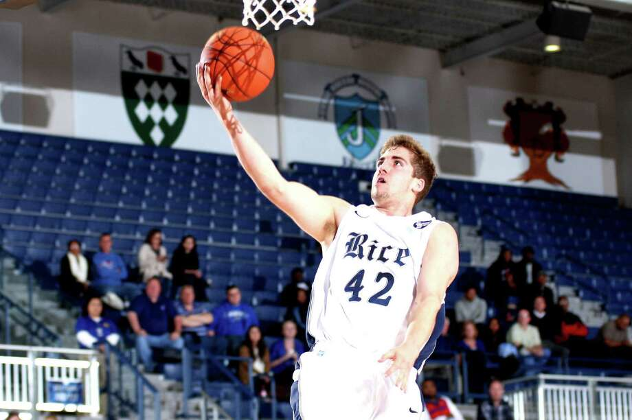 Rice's Austin Ramljak makes a rare excursion inside the 3-point line.