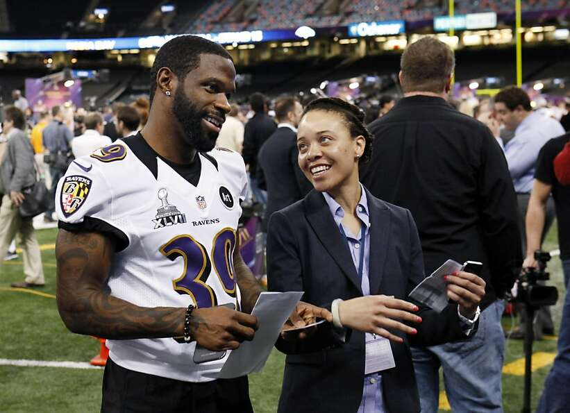 Chris Johnson of the Ravens talks with Carmen Dukes of NFL.com on Media Day at the Superdome.
