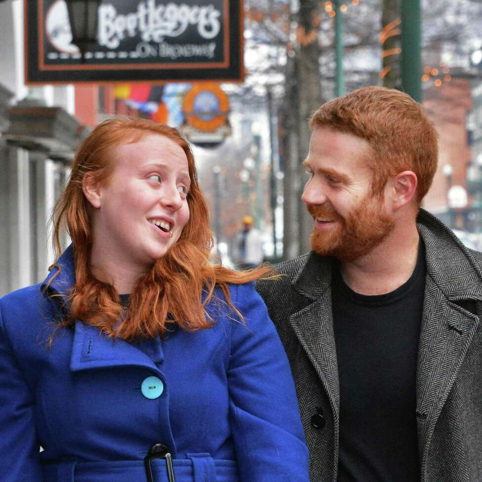 Members of the League of Extraordinary Redheads Margaret Young and Duncan Crary outside Bootleggers on Broadway in Troy Tuesday Jan. 29, 2013, site of Wedneday's inaugural meeting. (John Carl D'Annibale / Times Union)
