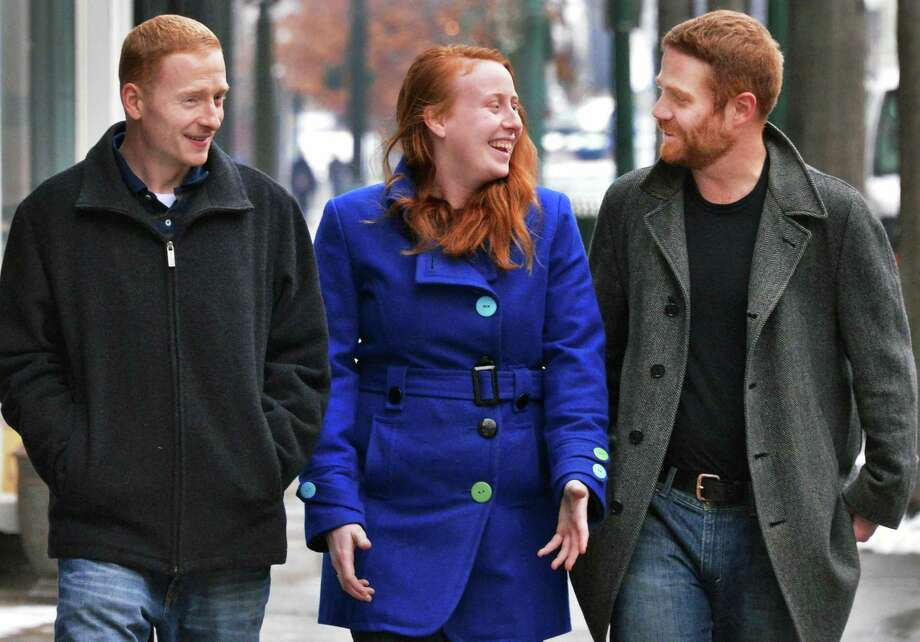 Members of the League of Extraordinary Redheads, from left, Kenny DuBois, Margaret Young and Duncan Crary outside Bootleggers on Broadway in Troy Tuesday Jan. 29, 2013, site of Wedneday's inaugural meeting. (John Carl D'Annibale / Times Union) Photo: John Carl D'Annibale