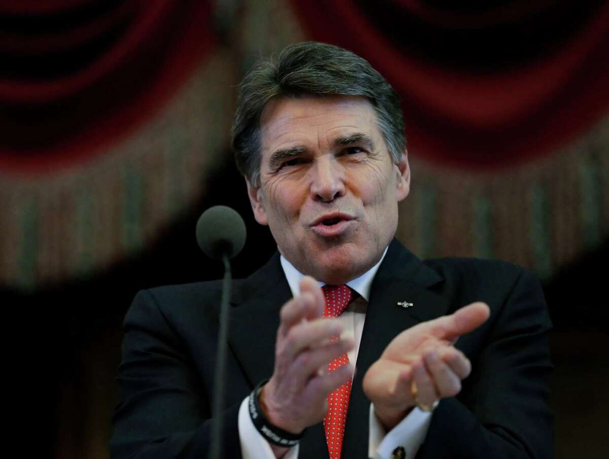 Texas Gov. Rick Perry delivers the state of the state address in the house chambers at the state capitol, Tuesday, Jan. 29, 2013, in Austin, Texas. (AP Photo/Eric Gay)