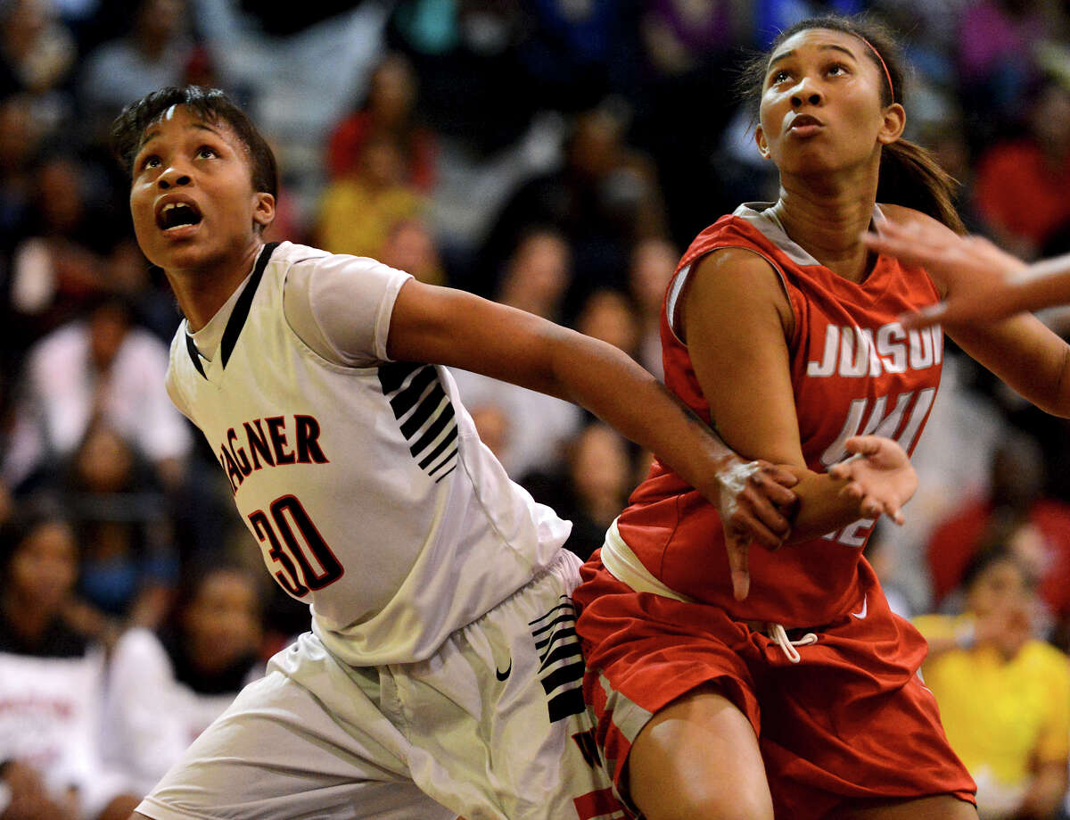 Wagner's Tesha Smith (30) blocks out Judson's Olivia Lott (44) during a district 25-5A girls Basketball game between the Wagner Thunderbirds and the Judson Rockets at Wagner High School, Tuesday, January 29, 2013.