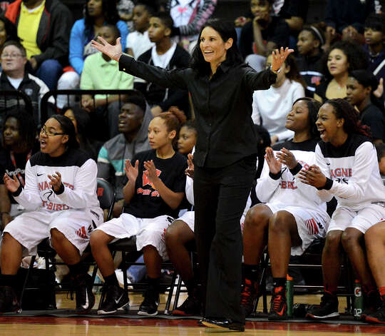 Wagner head coach Christina Camacho reacts to a play on the court during a district 25-5A girls Basketball game between the Wagner Thunderbirds and the Judson Rockets at Wagner High School, Tuesday, January 29, 2013. Photo: John Albright, For The Express-News / San Antonio Express-News