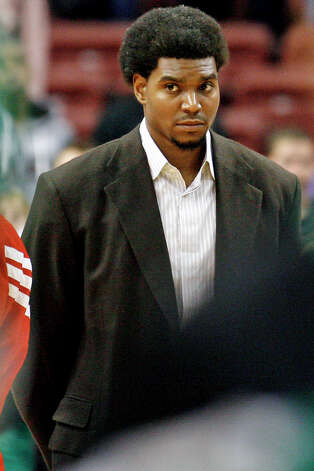 Philadelphia 76ers' Andrew Bynum stands on the court before an NBA preseason basketball game against the Boston Celtics, Monday Oct. 15, 2012, in Philadelphia. Bynum on Monday will receive an injection of Synvisc, a gel-like substance that sometimes provides relief for inflamed tissue, on his injured right knee. Photo: H. RUMPH JR, Associated Press / FR61717 AP