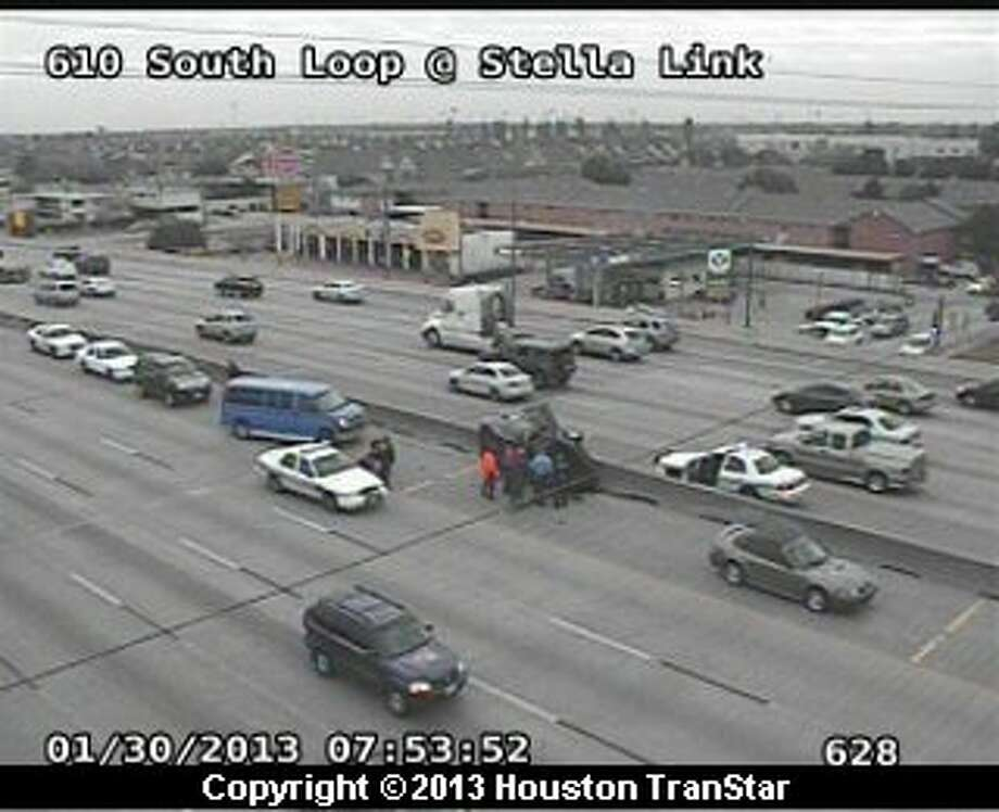 Traffic was backedup after a crash on the South Loop near Stella Link during rush hour Wednesday morning. Photo: Houston Transtar