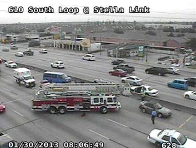 Accident on the South Loop 610 around 8 a.m. Wednesday, Jan. 30, 2013. Photo: Houston TranStar