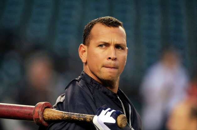 "FILE - In this Wednesday, Oct. 17, 2012 file photo, New York Yankees' Alex Rodriguez takes batting practice before Game 4 of the American League championship series against the Detroit Tigers, in Detroit. Major League Baseball says it is ""extremely disappointed"" about a new report that says records from an anti-aging clinic in the Miami area link Rodriguez and other players to the purchase of performance-enhancing drugs. Photo: Carlos Osorio"