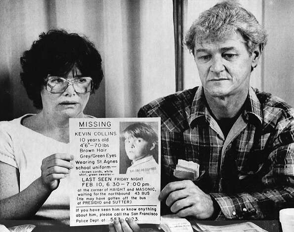 Ann and David Collins hold a news conference to display missing posters in March 1984, a month after their 10-year-old son, Kevin, disappeared. Photo: Paul Sakuma, Associated Press 1984