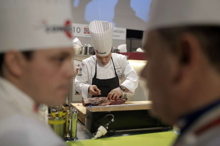 Richard Rosendale, of USA during the Bocuse d'Or competition earlier today.