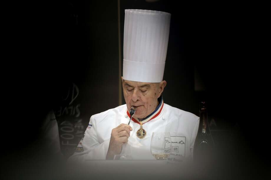 French chef Paul Bocuse tastes a dish during the Bocuse d'Or
