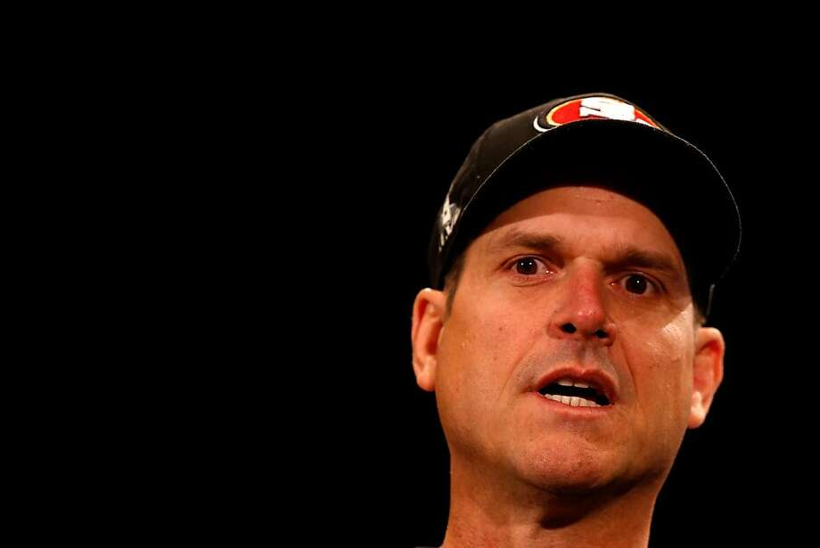 NEW ORLEANS, LA - JANUARY 30:  Head coach Jim Harbaugh of the San Francisco 49ers addresses the media during Super Bowl XLVII Media Availability at the New Orleans Marriott on January 30, 2013 in New Orleans, Louisiana. The 49ers will take on the Baltimore Ravens on February 3, 2013 at the Mercedes-Benz Superdome.  (Photo by Scott Halleran/Getty Images) Photo: Scott Halleran, Getty Images