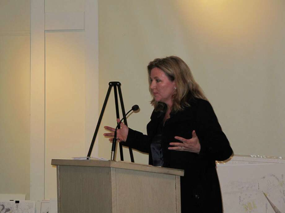 Grace Farms Foundation President Sharon Prince addresses the Planning and Zoning Commission Tuesday night, Jan. 29 at the New Canaan Nature Center. Photo: Tyler Woods