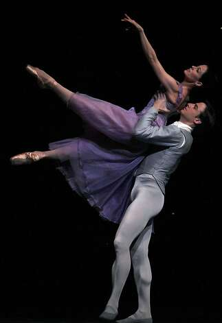 "SF Ballet dancers Vanessa Zahorian and Ruben Martin Cintas practice during a dress rehearsal of ""In the Night"" at the War Memorial Opera House in San Francisco, Calif.,  on Tuesday, January 29, 2013. Photo: Liz Hafalia, The Chronicle"