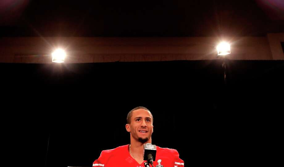 49er quarterback Colin Kaepernick,7 fields questions from the media during the daily press conference for the San Francisco 49ers on Wednesday January 30, 2013 in New Orleans, La., as the Baltimore Ravens and the San Francisco 49ers prepare for this Sunday's NFL Superbowl game. Photo: Michael Macor, The Chronicle / ONLINE_YES