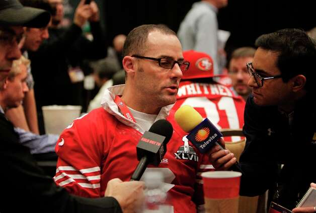 49ers kicker David Akers, 2, talks with reporters during the daily press conference for the San Francisco 49ers on Wednesday January 30, 2013 in New Orleans, La., as the Baltimore Ravens and the San Francisco 49ers prepare for this Sunday's NFL Superbowl game. Photo: Michael Macor, The Chronicle / ONLINE_YES