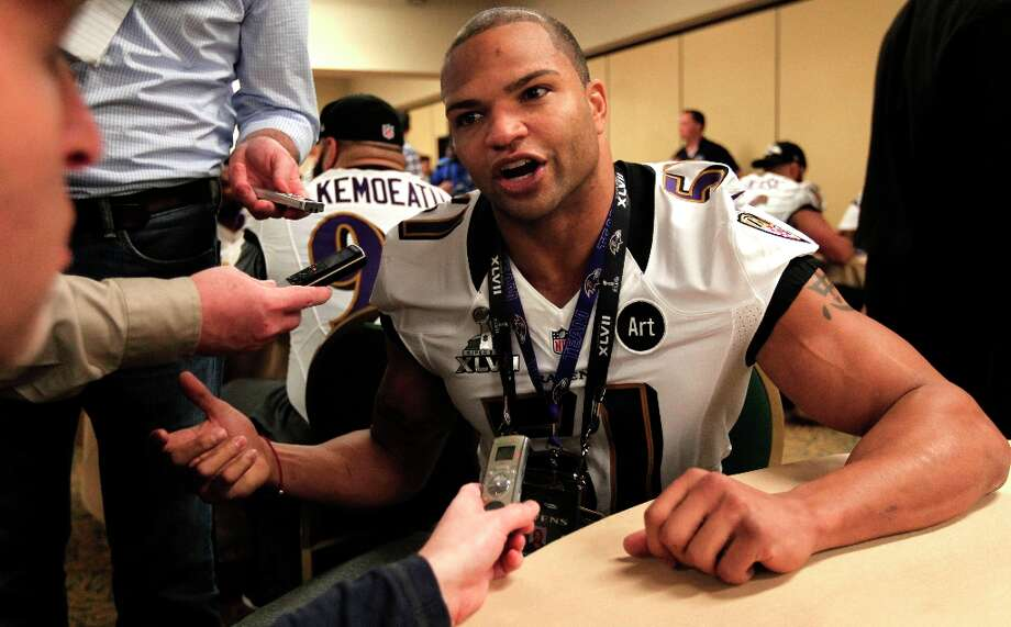 Ravens Brendon Ayanbadejo, 51 talks with the media during the daily press conference for the Baltimore Ravens on Wednesday January 30, 2013 in New Orleans, La., as the San Francisco 49ers and the Baltimore Ravens prepare for this Sunday's NFL Superbowl game. Photo: Michael Macor, The Chronicle / ONLINE_YES