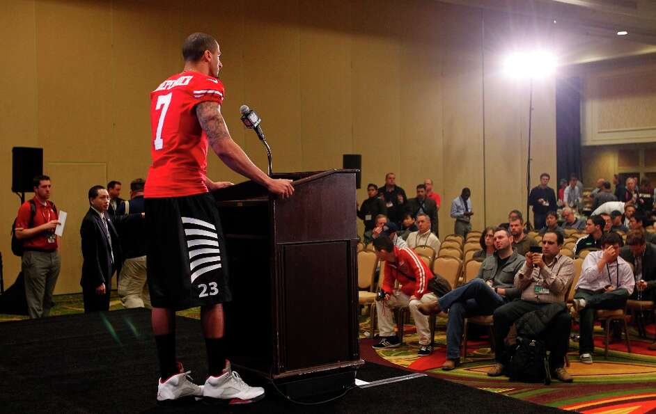 49er quarterback Colin Kaepernick, fields questions from the media, during the daily press conferenc