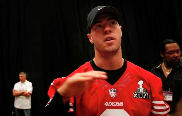 49er quarterback Scott Tolzien,3 talks with reporters during the daily press conference for the San Francisco 49ers on Wednesday January 30, 2013 in New Orleans, La., as the two teams the Baltimore Ravens and the San Francisco 49ers prepare for this Sunday's NFL Superbowl game. Photo: Michael Macor, The Chronicle / ONLINE_YES