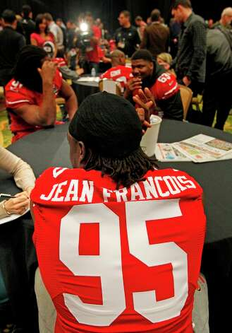 49er Ricky Jean Francois, 95, speaks withe media during the daily press conference for the San Francisco 49ers on Wednesday January 30, 2013 in New Orleans, La., as the two teams the Baltimore Ravens and the San Francisco 49ers prepare for this Sunday's NFL Superbowl game. Photo: Michael Macor, The Chronicle / ONLINE_YES
