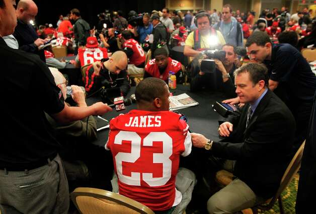 49er running back LaMichael James, 23,  speaks with reporters during the daily press conference for the San Francisco 49ers on Wednesday January 30, 2013 in New Orleans, La., as the two teams the Baltimore Ravens and the San Francisco 49ers prepare for this Sunday's NFL Superbowl game. Photo: Michael Macor, The Chronicle / ONLINE_YES