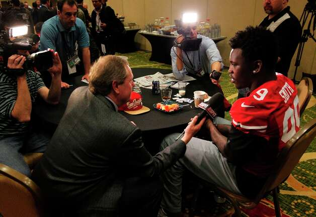49er Aldon Smith, 99,  is interviewed during the daily press conference for the San Francisco 49ers on Wednesday January 30, 2013 in New Orleans, La., as the two teams the Baltimore Ravens and the San Francisco 49ers prepare for this Sunday's NFL Superbowl game. Photo: Michael Macor, The Chronicle / ONLINE_YES