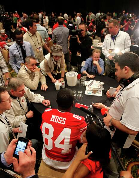 49er receiver Randy Moss is interviewed during the daily press conference for the San Francisco 49er