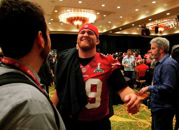 49er fullback Bruce Miller, 49 jokes around during the daily press conference for the San Francisco 49ers on Wednesday January 30, 2013 in New Orleans, La., as the two teams the Baltimore Ravens and the San Francisco 49ers prepare for this Sunday's NFL Superbowl game. Photo: Michael Macor, The Chronicle / ONLINE_YES
