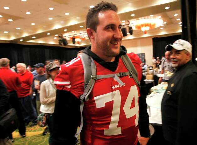 49er tackle Joe Staley, 74,  finishes with the morning interviews during the daily press conference for the San Francisco 49ers on Wednesday January 30, 2013 in New Orleans, La., as the two teams the Baltimore Ravens and the San Francisco 49ers prepare for this Sunday's NFL Superbowl game. Photo: Michael Macor, The Chronicle / ONLINE_YES
