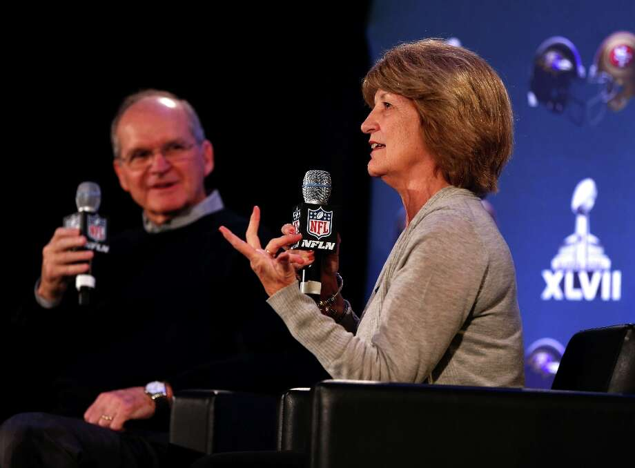 Jackie and wife Jack Harbaugh address the media during a news conference at the Media Center on January 30, 2013 in New Orleans, Louisiana. The Harbaugh's are the parents of Jim Harbaugh, the head coach of the San Francisco 49ers and John Harbaugh the head coach of the Baltimore Ravens. The Ravens and the 49ers will meet February 3, 2013 in Super Bowl XLVII at the Mercedes-Benz Superdome. Photo: Scott Halleran, Getty Images / 2013 Getty Images