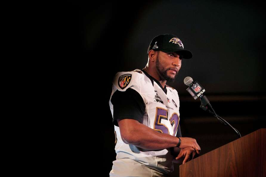 Ravens Ray Lewis,52, talks with the media during the daily press conference for the Baltimore Ravens