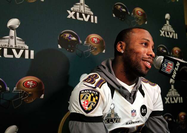 Ravens Anquan Boldin, 81, talks with the media during the daily press conference for the Baltimore Ravens on Wednesday January 30, 2013 in New Orleans, La., as the San Francisco 49ers and the Baltimore Ravens and prepare for this Sunday's NFL Superbowl game. Photo: Michael Macor, The Chronicle / ONLINE_YES