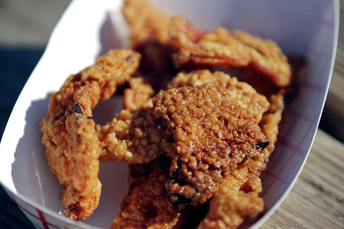 Chicken Fried Bacon, created by Glen Kusak and his Yoakum Packing Co. and took top prize at the Texas State Fair in 2008, made its way to the San Antonio Stock Show & Rodeo. Here, it's shown in 2012.