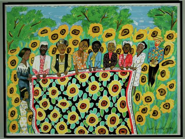 Ringgold, Faith Sunflower Quilting Bee at Arles 1996 Lithograph 22 x 30 inches Edition of 20; AP 9/20 (Courtesy Opalka Gallery)