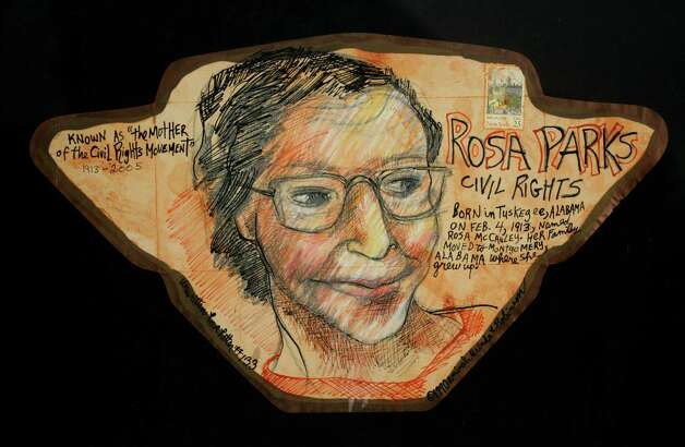 Robinson, Aminah Unwritten Love Letter Series - Rosa Parks 1990 Mixed Media on Paper 9 x 15 inches  (Courtesy Opalka Gallery)