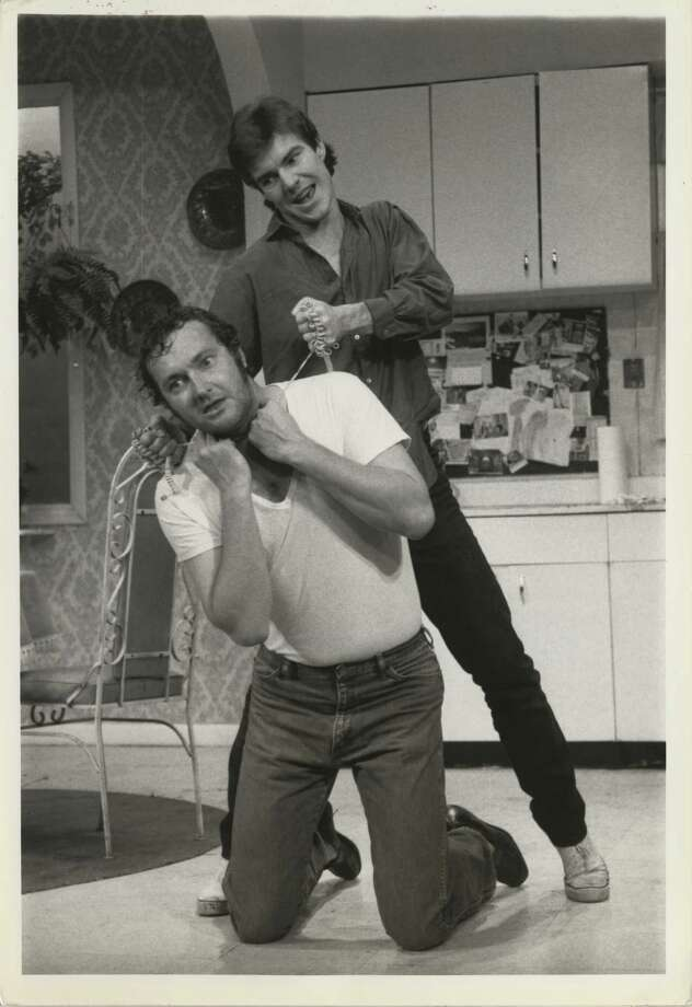 "Actors Dennis and Randy Quaid were born in Houston and grew up in Bellaire. Dennis went to the University of Houston. Here, Dennis attempts to strangle his kneeling brother Randy in the off-Broadway play ""True West,"" which ran in 1983 in New York. Photo: Nancy Kaye, AP / AP Newfeatures"