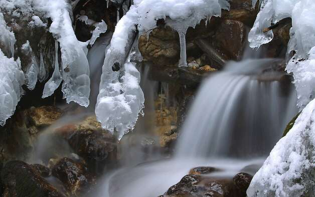 Winter waterfall: An icy stream spills over rocks in this slow-shutter-speed shot taken near Hohenschwangau, Germany. Photo: Karl-Josef Hildenbrand, AFP/Getty Images