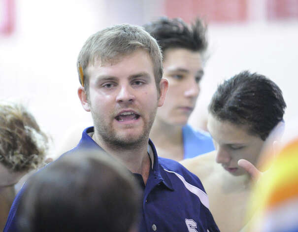 Staples boys swim coach Frisk Driscoll during the boys high school swim meet between Greenwich High School and Staples High School at Greenwich, Wednesday, Jan. 30, 2013. Photo: Bob Luckey / Greenwich Time