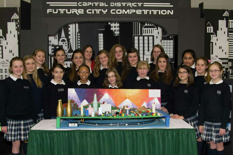Academy of Holy Names Future Cities Team, which won in regional competition Jan. 26 and will go to Washington, D.C. to compete on the national level. (Capital District Future City Competition)