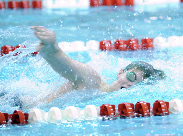 Thomas Dillinger of Greenwich swims in the 200 freestyle event in the boys high school swim meet between Greenwich High School and Staples High School at Greenwich, Wednesday, Jan. 30, 2013. Photo: Bob Luckey / Greenwich Time