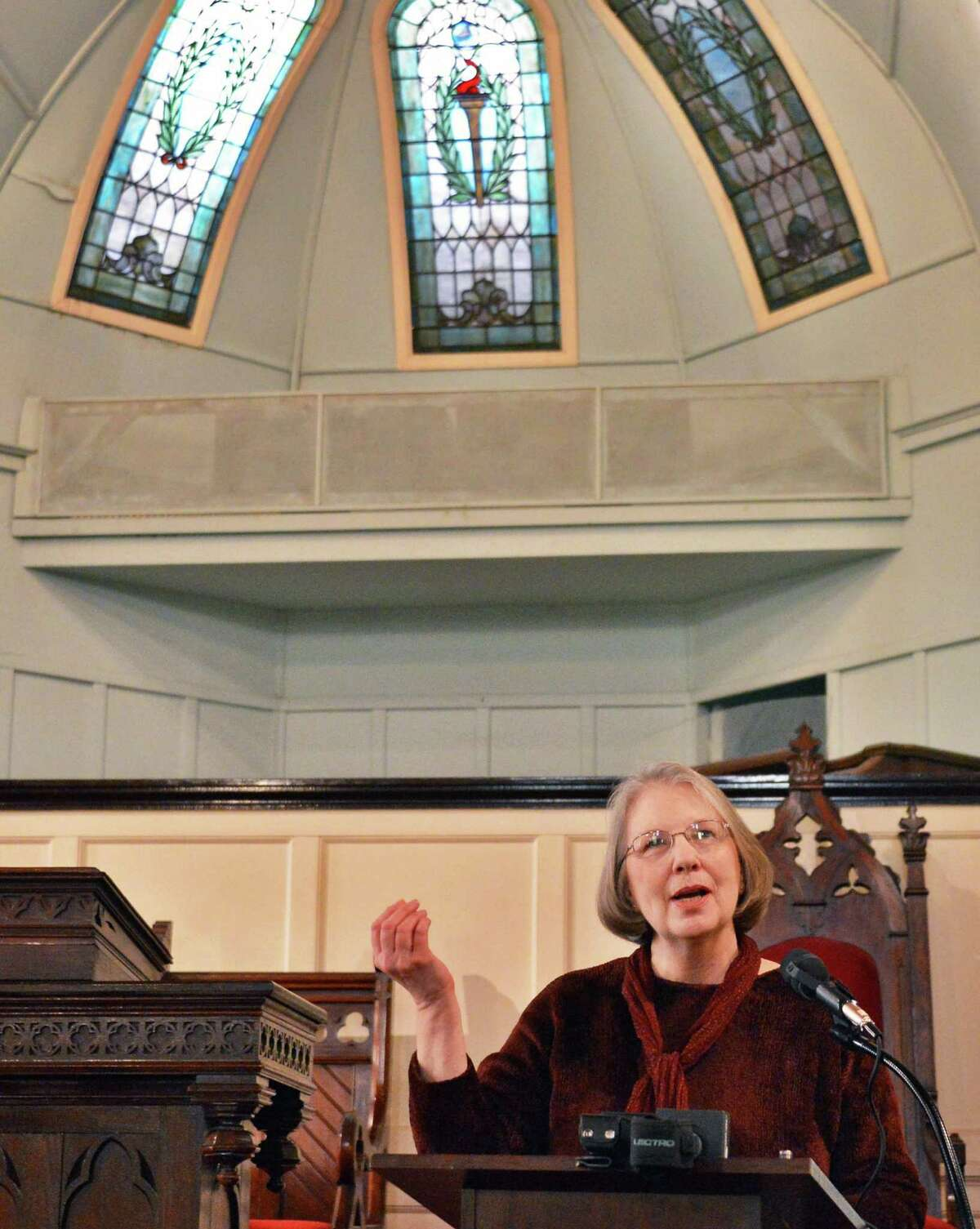 Linda O?Malley, director of the Oakwood Presbyterian Church & Community Center speaks during a ceremony to recognize the listing of the church on the National Register of Historic Places, at the church in Troy Tuesday Jan. 29, 2013. (John Carl D'Annibale / Times Union)