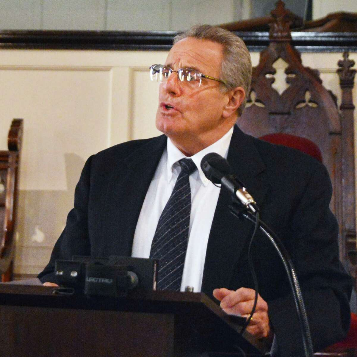 Troy Mayor Lou Rosamilia speaks during a ceremony to recognize the listing of the Oakwood Avenue Presbyterian Church on the National Register of Historic Places, at the church in Troy Tuesday Jan. 29, 2013. (John Carl D'Annibale / Times Union)