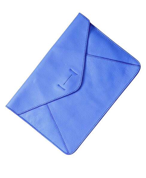 Gap leather envelope clutch in blue ($39.95),