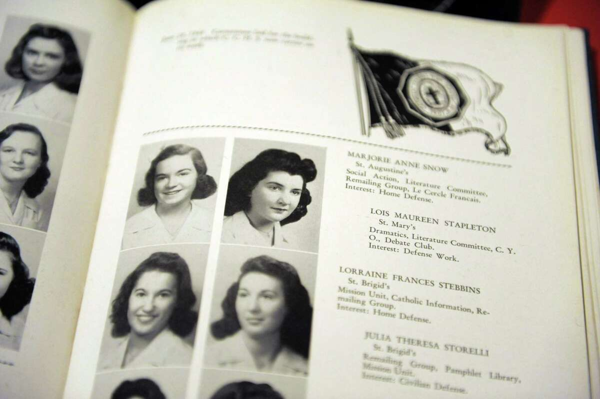 A view of Maureen Stapleton in the Catholic Central High School year book, is seen on display at the Rensselaer County Historical Society on Wednesday, Jan. 30, 2013 in Troy, NY. The society is creating an exhibit entitled