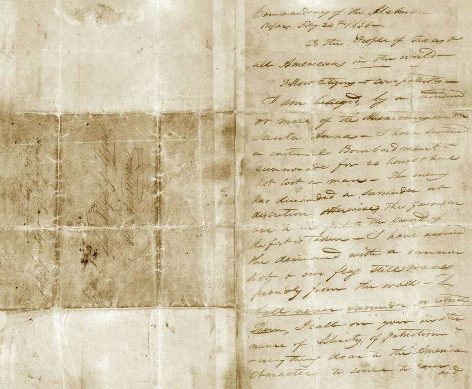 William Barret Travis letter from the Alamo, February 24, 1836.
